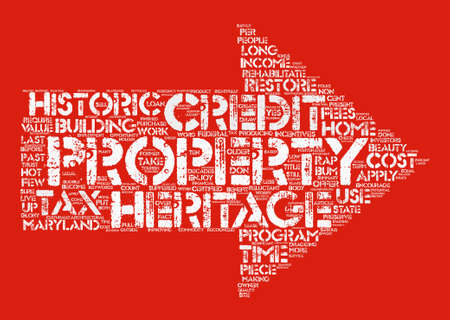 Take Credit for Heritage Restorations text background word cloud concept Illustration