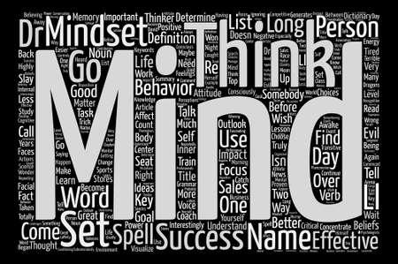 Est-ce Mindset ou Mind Set concept de nuage de mot texte d'arrière-plan