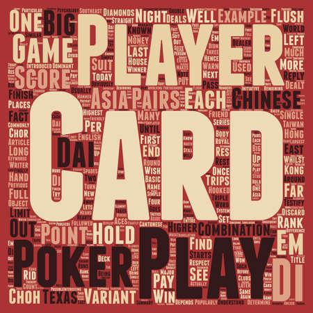 dai: Chinese Poker Big 2 Choh Dai Di text background wordcloud concept