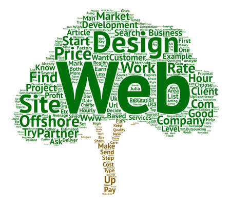 Earn On Offshore Web Design and Development text background word cloud concept