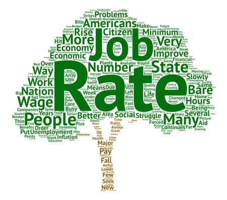 Concepto de nube de palabras de fondo de texto de las tasas de desempleo