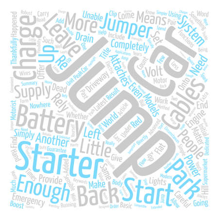 Jump Starters Or Jumper Cables Word Cloud Concept Text Background
