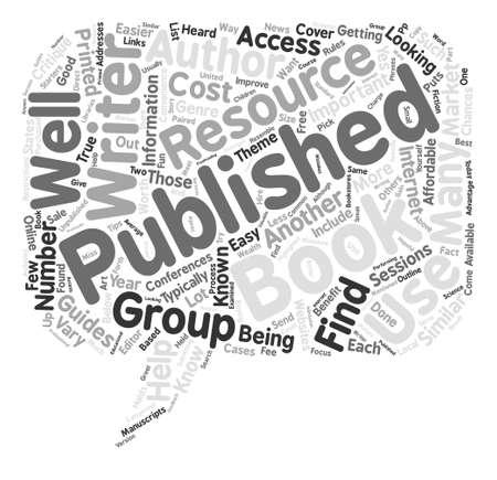 Recursos para ayudarle a obtener un libro Concepto de nube de palabras de fondo de texto publicado