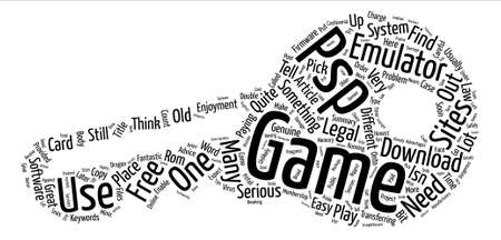 psp: PSP Emulator And Game text background word cloud concept