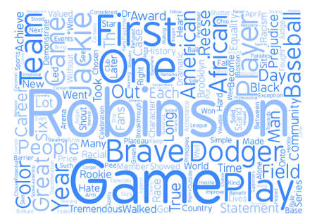 Jackie Robinson Word Cloud Concept Text Background Illustration