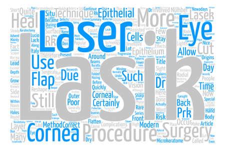 Lasik-Augen-Chirurgie würden Sie es Wort-Wolken-Konzept-Text-Hintergrund haben