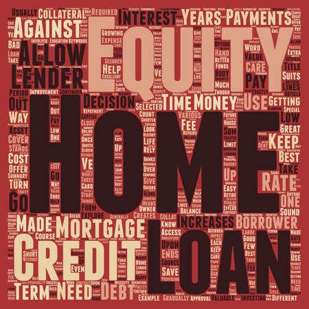 Home Equity Loans une grande source d'explorer le texte concept background wordcloud Vecteurs