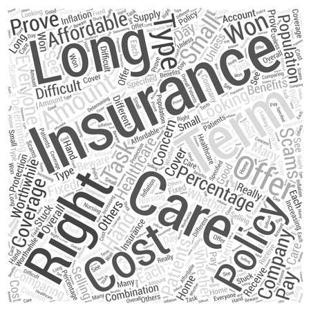Cuidado de la salud para pacientes a largo plazo es este derecho de seguro para que el concepto de nube de palabras