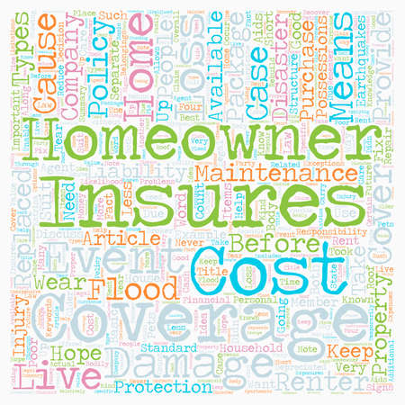 Homeowners Insurance text background wordcloud concept