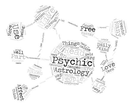 psychic: Psychic and astrology how does affects our daily lives text background word cloud concept Illustration