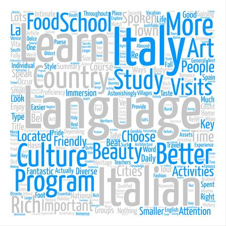 Learn Italian In Italy text background word cloud concept Ilustrace