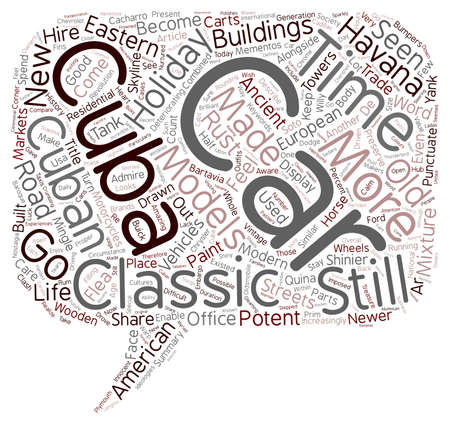 punctuate: Classic Cars In Cuba text background wordcloud concept