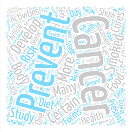 Present Day Activities for a Cancer Free Future text background word cloud concept