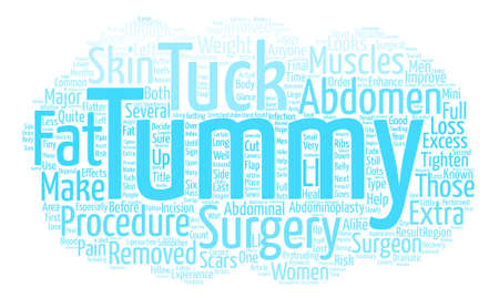 Tummy Tuck Surgery At A Glance text background word cloud concept
