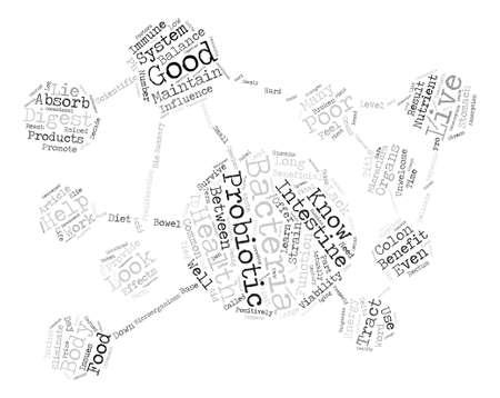 プロバイオティクスのテキスト背景単語クラウドのコンセプトで捜すべき何