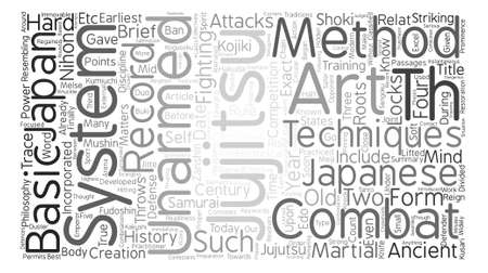jujitsu: Jujitsu History Philosophy And Methods Word Cloud Concept Text Background