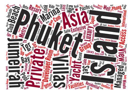 Jumeirah private island phuket text background word cloud concept Иллюстрация