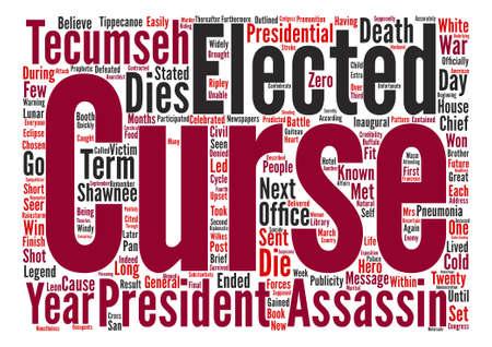 米国の大統領と Tecumsehs の呪いテキスト背景単語の雲概念  イラスト・ベクター素材