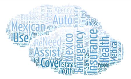 The Truth About Mexican Auto Insurance text background word cloud concept Ilustração