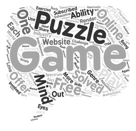 exhaustive: Puzzle Your Mind With Flash Games Word Cloud Concept Text Background Illustration