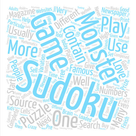 Monster sudoku text background word cloud concept