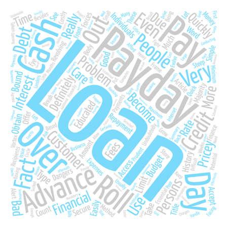 Betaal Day Advance Loans Wees voorzichtig met die dure Roll Overs tekst achtergrond word cloud concept