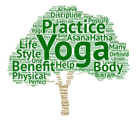The Benefit Of Yoga text background word cloud concept Illustration