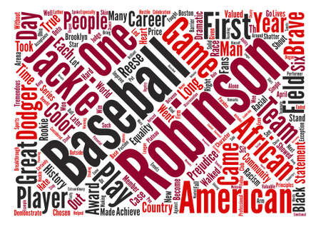Jackie Robinson text background word cloud concept