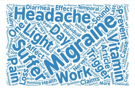Vitamin B Migraine Headaches text background word cloud concept Illustration