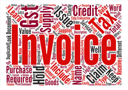 Tax Invoice text background word cloud concept