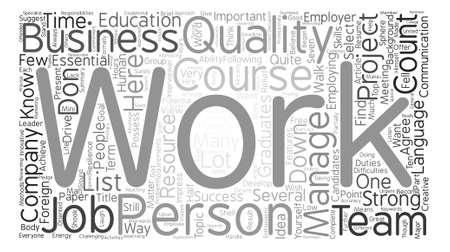 fluency: Seven Qualities to Get a Job You Want Word Cloud Concept Text Background