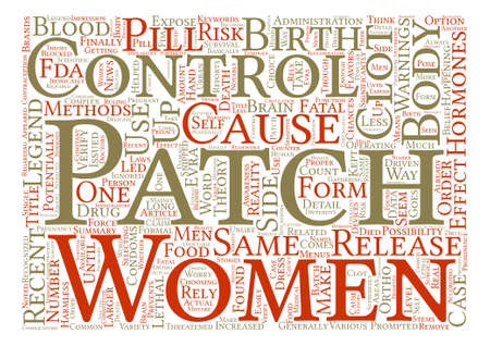 potentially: Warnings On Birth Control Patch Ordered text background word cloud concept