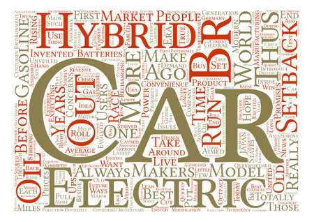 The Setbacks of Electric and Hybrid Cars text background word cloud concept