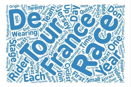 ツールド フランスの説明の単語クラウドの概念テキストの背景