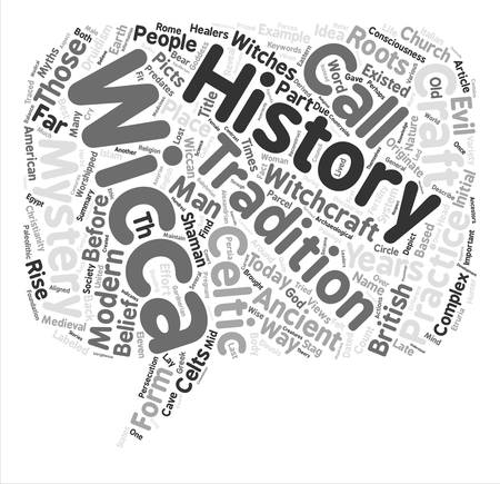 originate: The History of Wicca Where Did The Craft Originate Word Cloud Concept Text Background