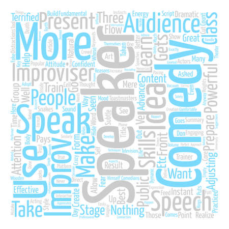 Improv Comedy for Speakers text background word cloud concept
