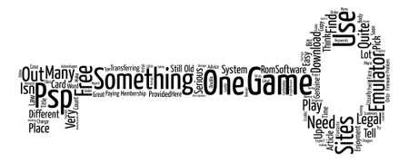 psp: PSP Emulator And Game Word Cloud Concept Text Background Illustration