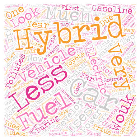 history of hybrid car text background wordcloud concept
