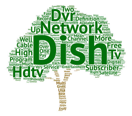 Dish network hdtv dvr text background word cloud concept
