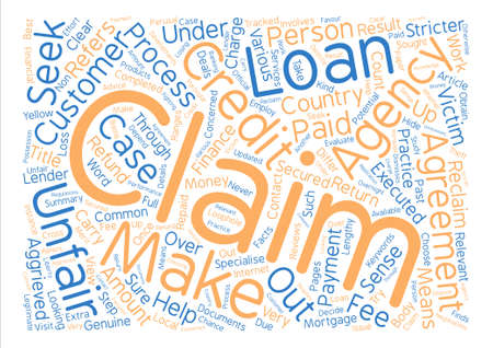 Unfair Credit Agreement Claims text background word cloud concept Illustration