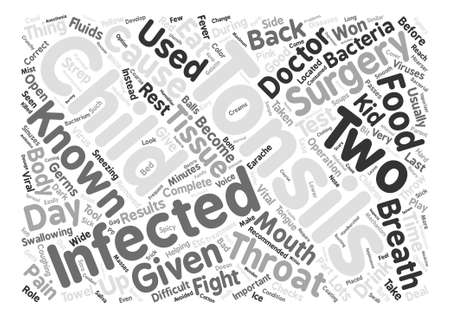 tonsillitis: Tonsils and Tonsillitis in Children text background word cloud concept Illustration