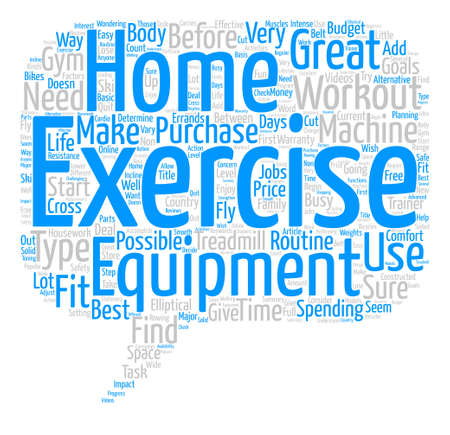 Home Exercise Workout Equipment Word Cloud Concept Text Background Vetores
