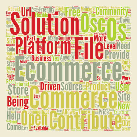 OS Commerce text background word cloud concept
