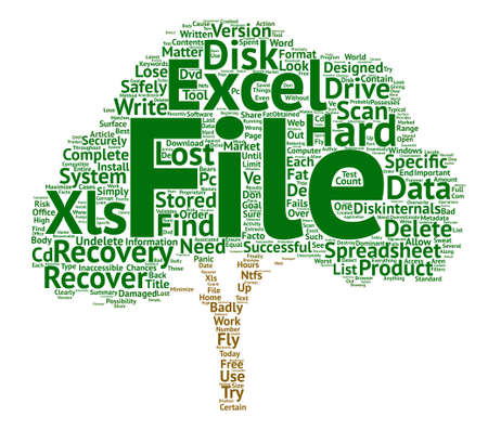 삭제 된 Excel 스프레드 시트 복구 텍스트 배경 단어 구름 개념 일러스트