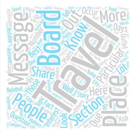 Travel Message Boards Get The Most Out Of Them text background word cloud concept Ilustracja
