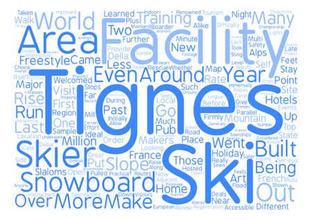 Tignes text background word cloud concept Illustration