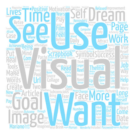 mariano: Visualize Your Way to Success text background word cloud concept Illustration