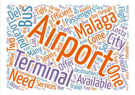 팁 말라가 공항에서 단어 구름 개념 텍스트 배경