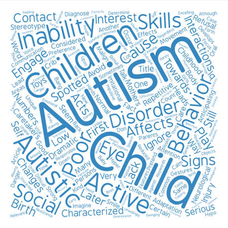 malign: Malign Effects of Child Autism Word Cloud Concept Text Background Illustration