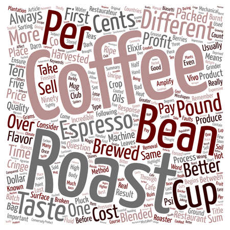 restaurateur: Coffee So Darn Expensive text background wordcloud concept Illustration